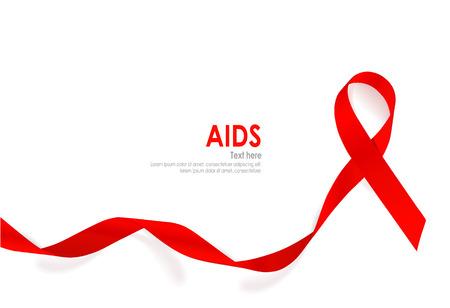 エイズ意識赤いハート リボン白い背景の上。ベクトル イラスト。