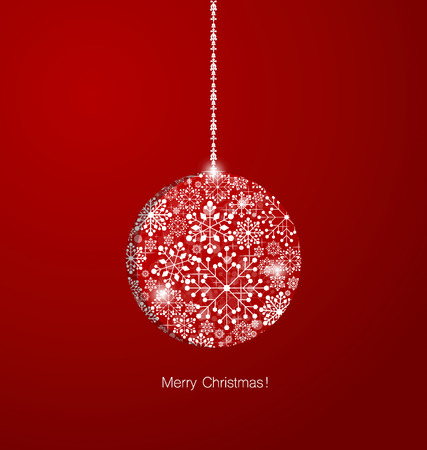 fiambres: Christmas background with Christmas ball, vector illustration.
