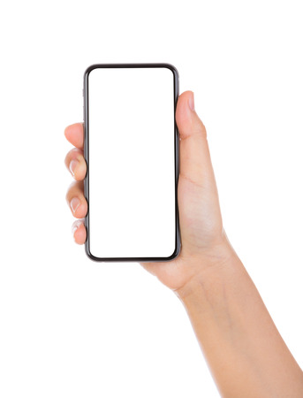 Hand holding mobile smart phone with blank screen Isolated on white background Stock fotó