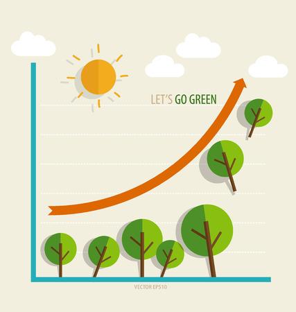 �conomie verte: Concept d'�conomie verte: Graphique de plus en plus l'environnement durable avec les entreprises.