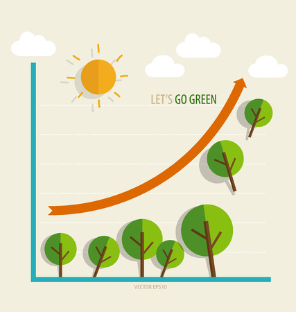 green economy: Green economy concept : Graph of growing sustainable environment with business.  Illustration