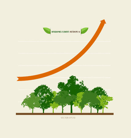 environment: Green economy concept : Graph of growing sustainable environment with business. Vector illustration.