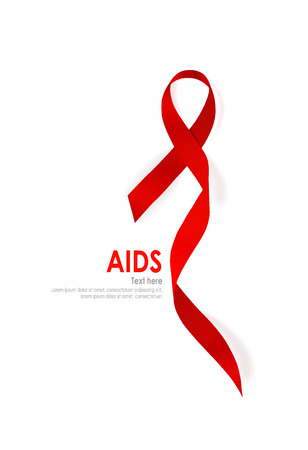 hiv awareness: Aids Awareness Ribbon coraz�n rojo sobre fondo blanco.