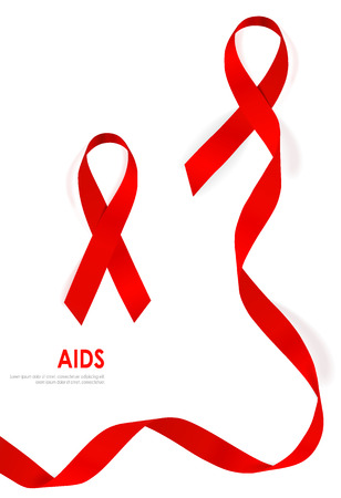 aids: Aids Awareness Red heart Ribbon on white background.  Illustration