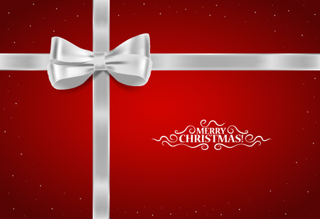 christmas ribbon: Christmas background. Gift bow and Shiny ribbon. Vector illustration.