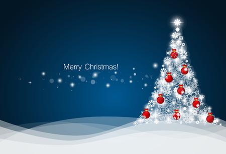 Weihnachten Hintergrund mit Weihnachtsbaum, Vektor-Illustration.