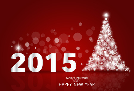 yaer: 2015 Happy New Year background with Christmas tree. Vector illustration. Illustration