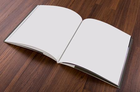 magazine cover: Blank catalog, magazines,book mock up on wood background