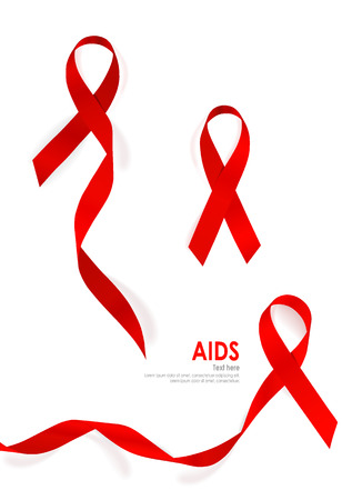 substance abuse awareness: Aids Awareness Red heart Ribbon on white background. Vector illustration. Stock Photo