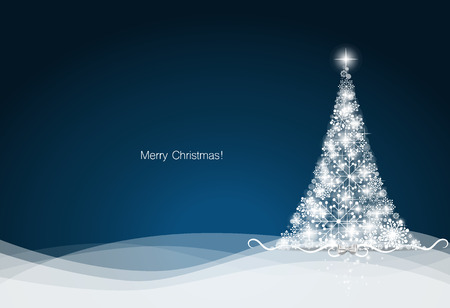Christmas background with Christmas tree, vector illustration. Stock Photo
