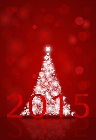 x mas card: 2015 Happy New Year background with Christmas tree. Vector illustration. Stock Photo