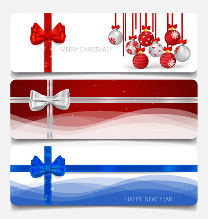 x mas background: Holiday gift coupons with gift bows and Christmas balls, vector illustration.