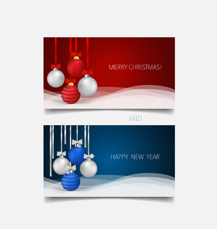 x mas background: Holiday gift coupons with gift bows and Christmas ball, vector illustration.