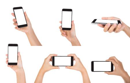画面が空白に分離した白い背景を持つモバイル スマート フォンを持っている手のコレクション
