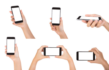 Collection of Hand holding mobile smart phone with blank screen Isolated on white background