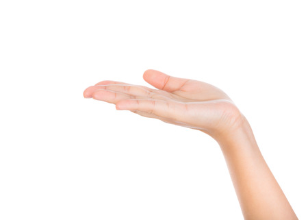 pleading: Beautiful woman hand holding isolated on white background Stock Photo