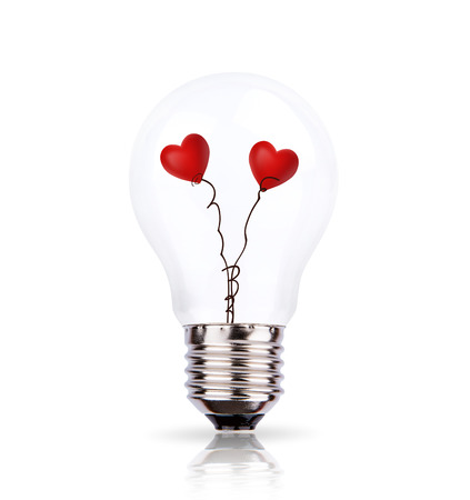 light hearted: Two heart in light bulb