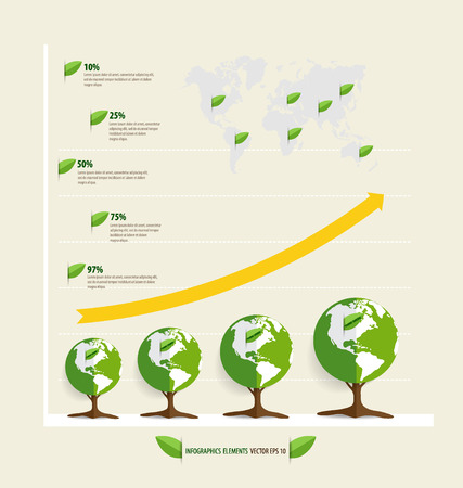economic botany: Green economy concept : Graph of growing sustainable environment with business