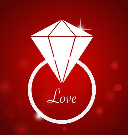 bague de fiancaille: Bague de fian�ailles de diamant. Illustration Vecteur