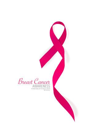 rak: Rak piersi Różowa wstążka świadomości. Ilustracji wektorowych.