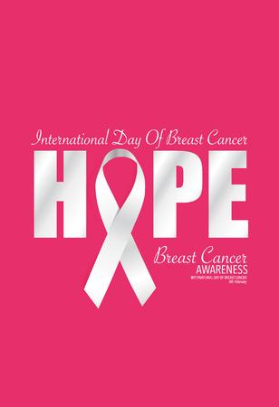 seni: Breast Cancer Awareness carte design. Illustrazione vettoriale.