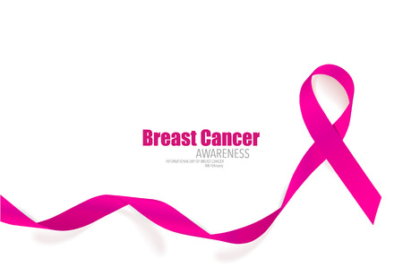 Breast cancer awareness pink ribbon. Vector Illustration. Çizim