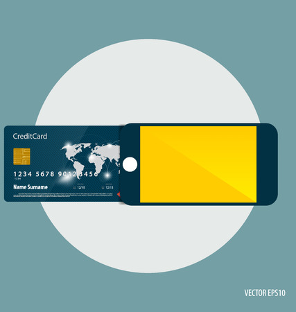 smart card: Shopping payment concept. Mobile smart phone with credit card. Illustration