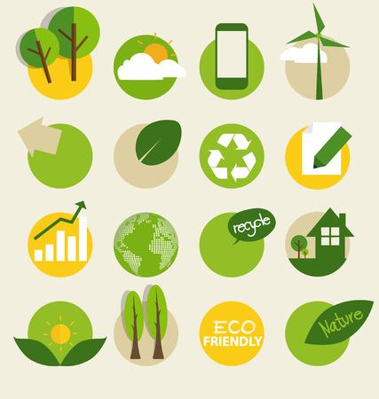 ecology: Ecological Icons. Vector illustration. Illustration