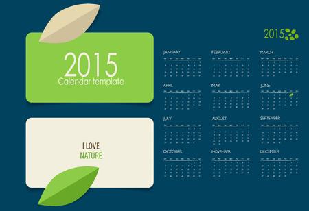2015 calendar. Vector illustration. Illustration