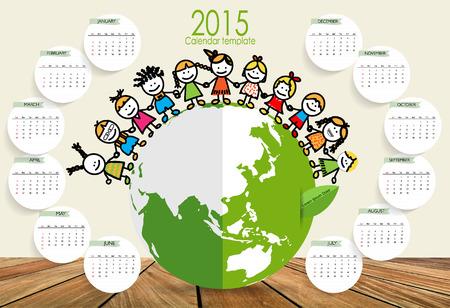 cartoon boys: 2015 calendar, Cute children on Green Eco Earth. Vector illustration.