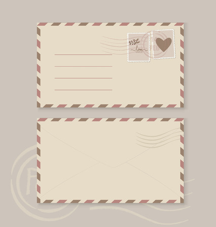 postage stamps: Collection of love envelopes with postage stamps. Vector illustration.