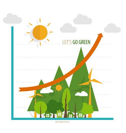 �conomie verte: Concept d'�conomie verte: Graphique de plus en plus l'environnement durable avec les entreprises
