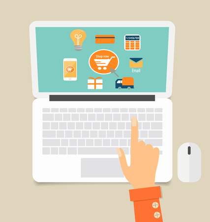 search marketing: Business concept. Online shopping. Infographics background E-commerce. Illustration