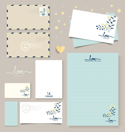 Collection of various paper designs (paper sheets, lined paper, note paper, postcard and envelope) Illustration