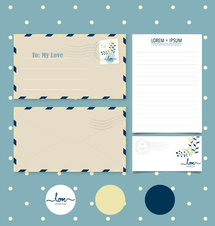 paper sheets: Collection of various paper designs (paper sheets, lined paper, note paper, postcard and envelope) Illustration