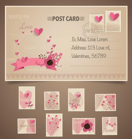 Vintage postcard background and Postage Stamps - for wedding card design, invitation card design, congratulation card design, scrapbook design Vector