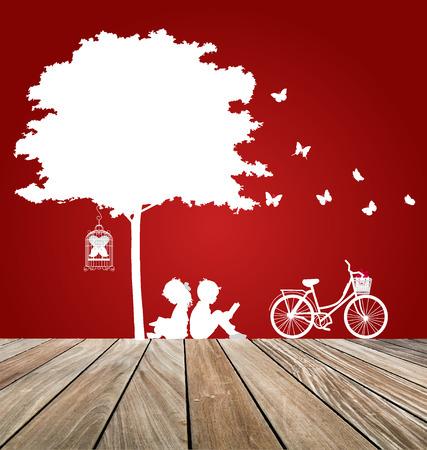cut paper: Valentine background with children read a book under tree. Vector Illustration. Illustration