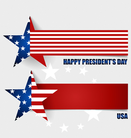 Happy Presidents Day. Presidents day banner illustration design with american flag. Vector