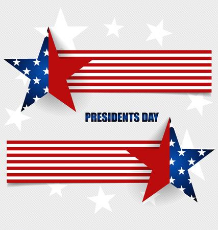presidents: Happy Presidents Day. Presidents day banner illustration design with american flag.