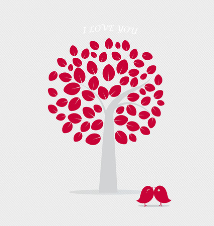 romantic sex: Valentine background with tree and bird. Vector Illustration.
