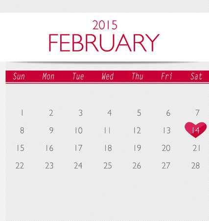 office romance: Valentines day. 2015 Calendar February. Vector illustration.