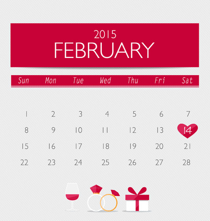 office romance: Valentines day. 2015 Calendar February. Vector illustration.