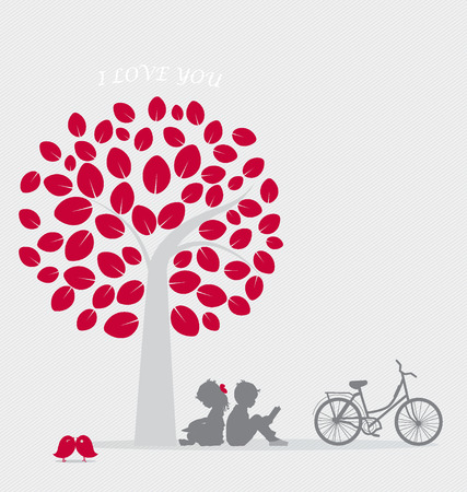 Valentine background with children read a book under tree. Vector Illustration. Vector