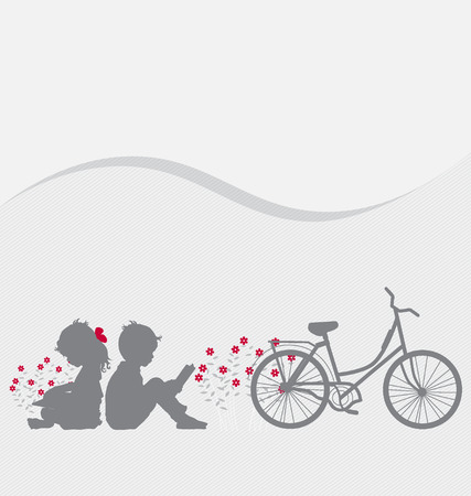 office romance: Valentine background with children read a book. Vector Illustration.