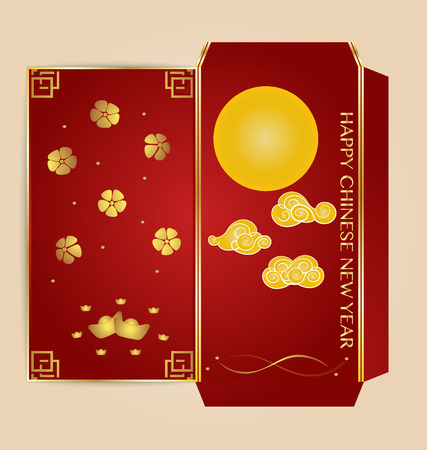 die cut: Chinese New Year Money Red Packet (Ang Pau) Design with Die cut. Vector Illustration.