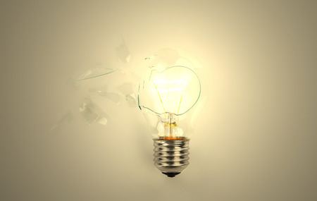power failure: Broken light bulb Stock Photo