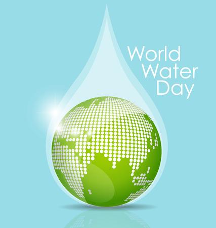 Concepto del día mundial del agua con gota de agua hecha por globo. Ilustración del vector.