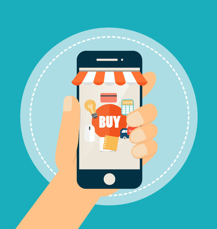 phone icon: E-commerce ideas with Online store