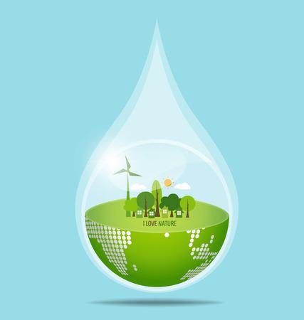 Verde Eco Tierra con gota de agua. Ilustración del vector.