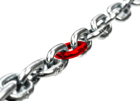 chain link: Steel chain with red chain center isolated on  white bacground Stock Photo